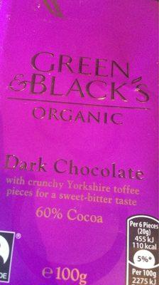 Green & black's organic chocolate bar dark with toffee - Produit - fr