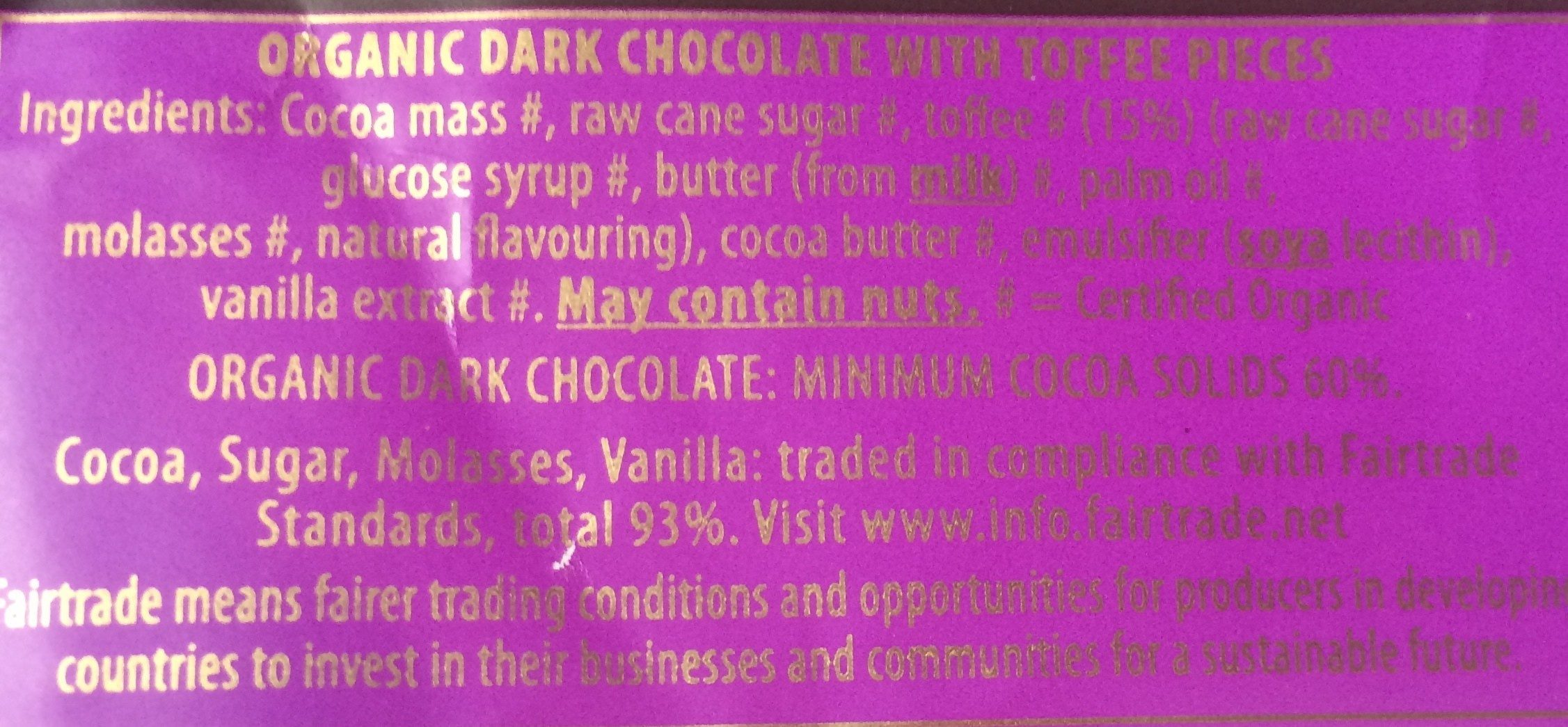 Green & black's organic chocolate bar dark with toffee - Ingrédients - fr