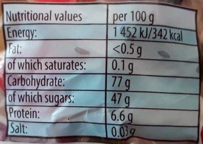 Starmix Minis - Nutrition facts