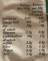 Mature cheddar & onion - Informations nutritionnelles