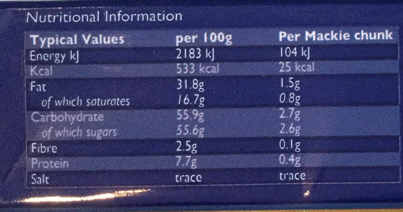Traditional Milk - Informations nutritionnelles