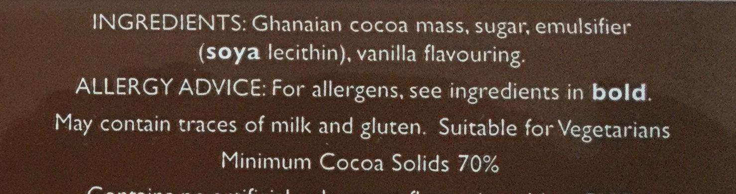 Dark 70% cocoa - Ingredients - en