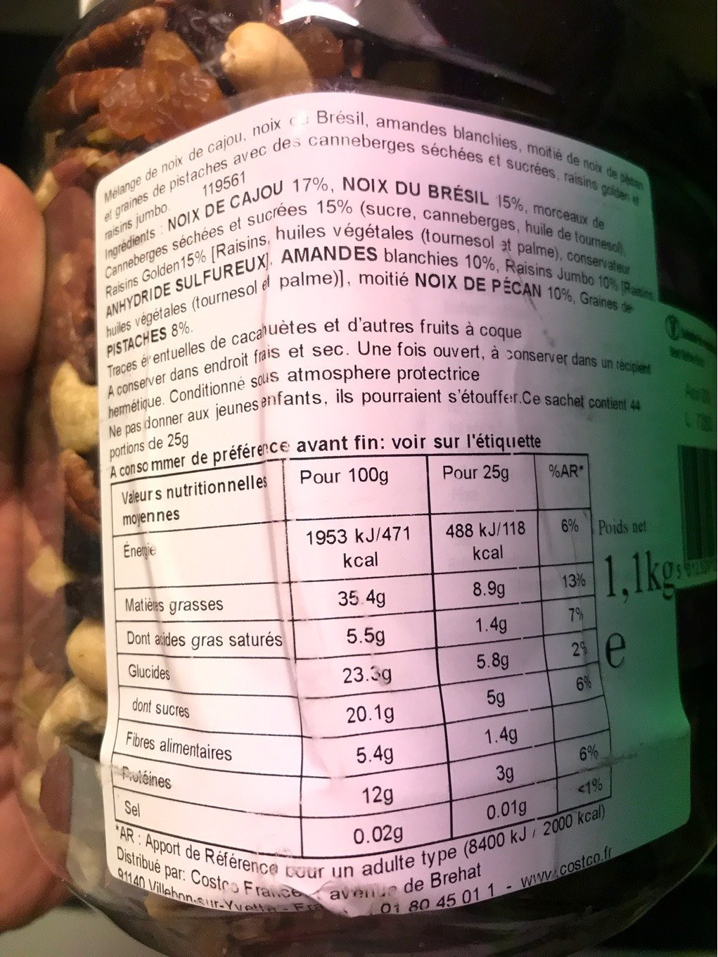Sun Valley Natural Fruit & Nuts 1.1KG - Nutrition facts