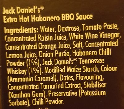 Jack Daniels Hot Habaneo Sauce, Scharf - Ingredients
