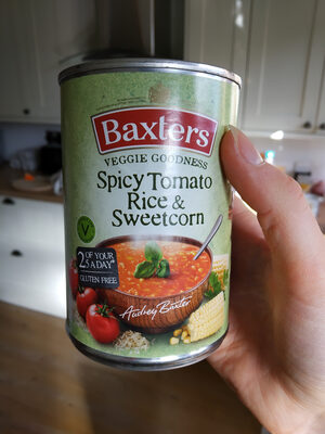 Baxter's veggie goodness spicy tomato, rice and sweetcorn soup - Produit - en