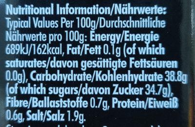 Jack Daniels BBQ Sauce - Informació nutricional