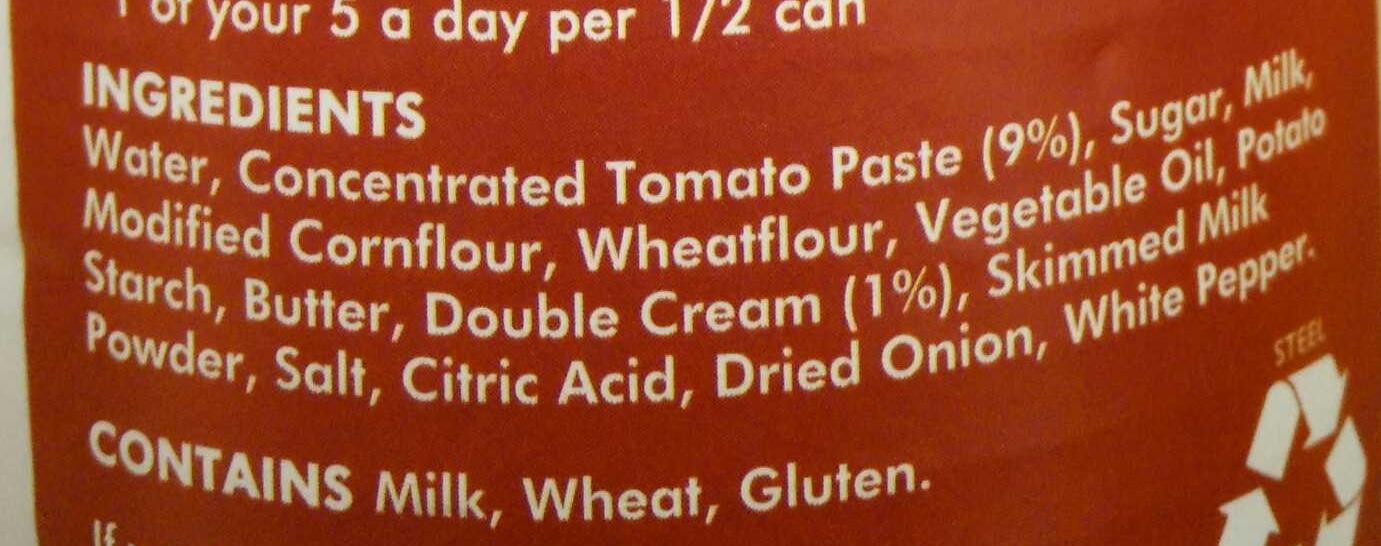 Cream of Tomato - Ingredients
