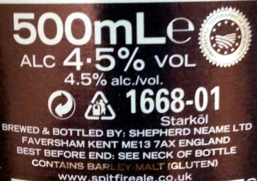 Spitfire - Ingrediënten - en