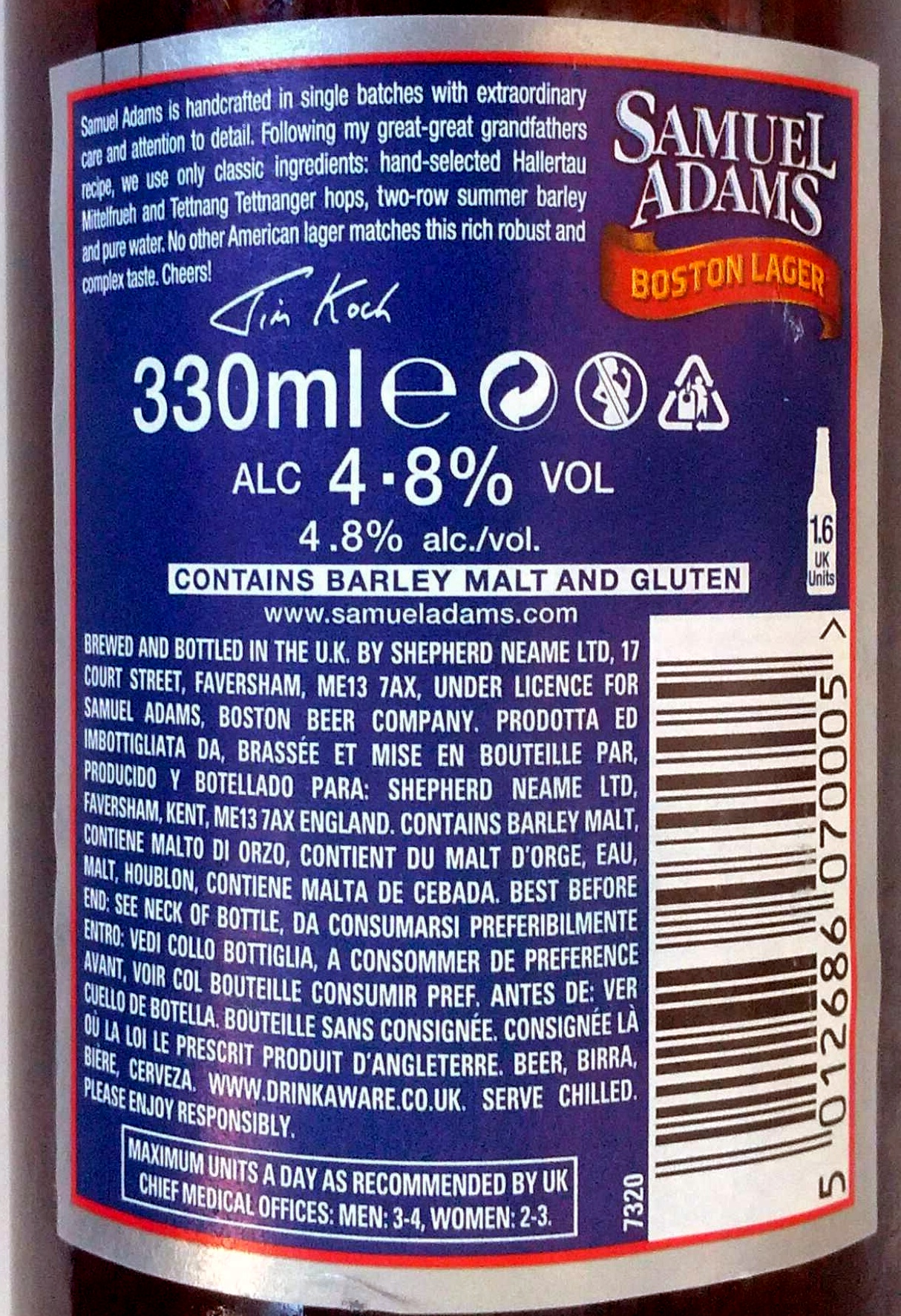 Samuel Adams - Nutrition facts - en