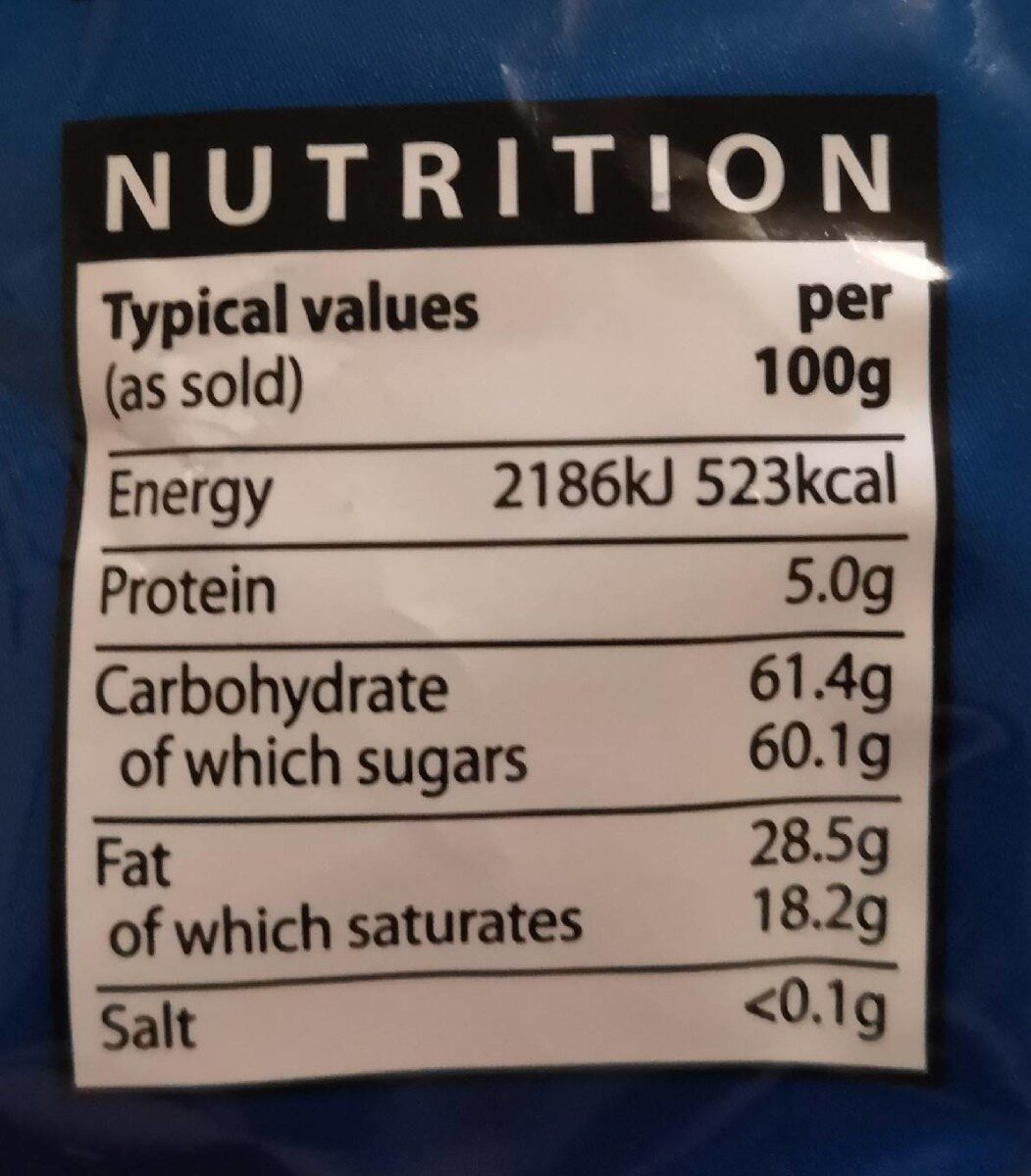 Milk chocolate chips - Nutrition facts - en