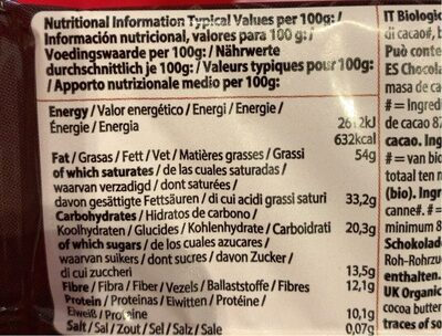 So free chocolate ecológico extra negro cacao - Nutrition facts - fr