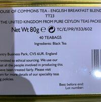 House Of Commons Tea - Voedingswaarden - fr