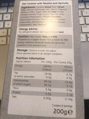 Fruity flapjack cookies - Informations nutritionnelles - en