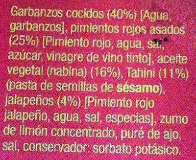 Hummus con pimiento rojo y jalapeños - Ingredientes - es
