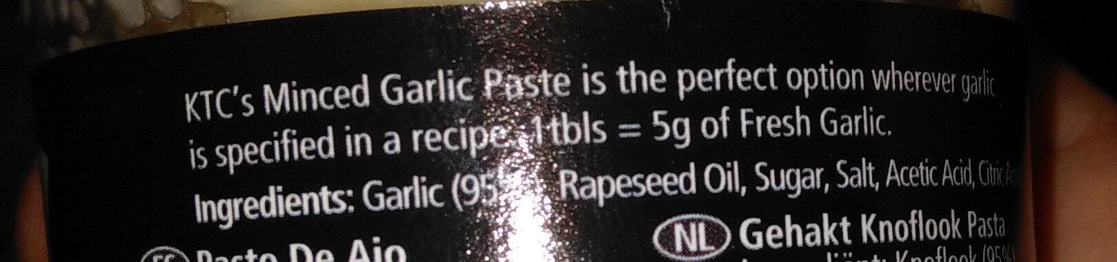 KTC Minced Garlic Paste - Ingrédients