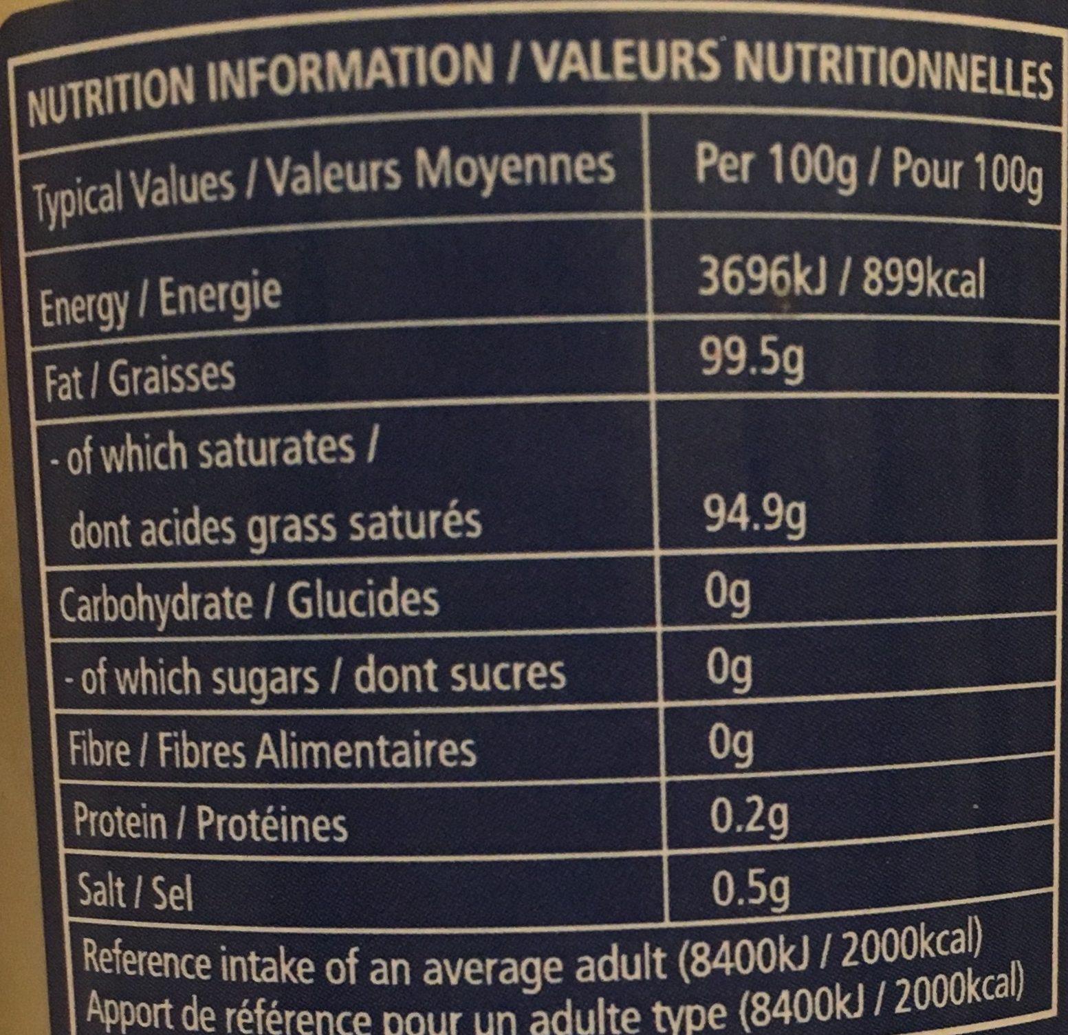 Huile de Noix de Coco - Informations nutritionnelles