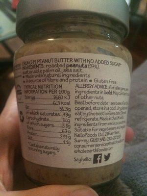 Whole Earth Crunchy Peanut Butter - Ingrédients - fr