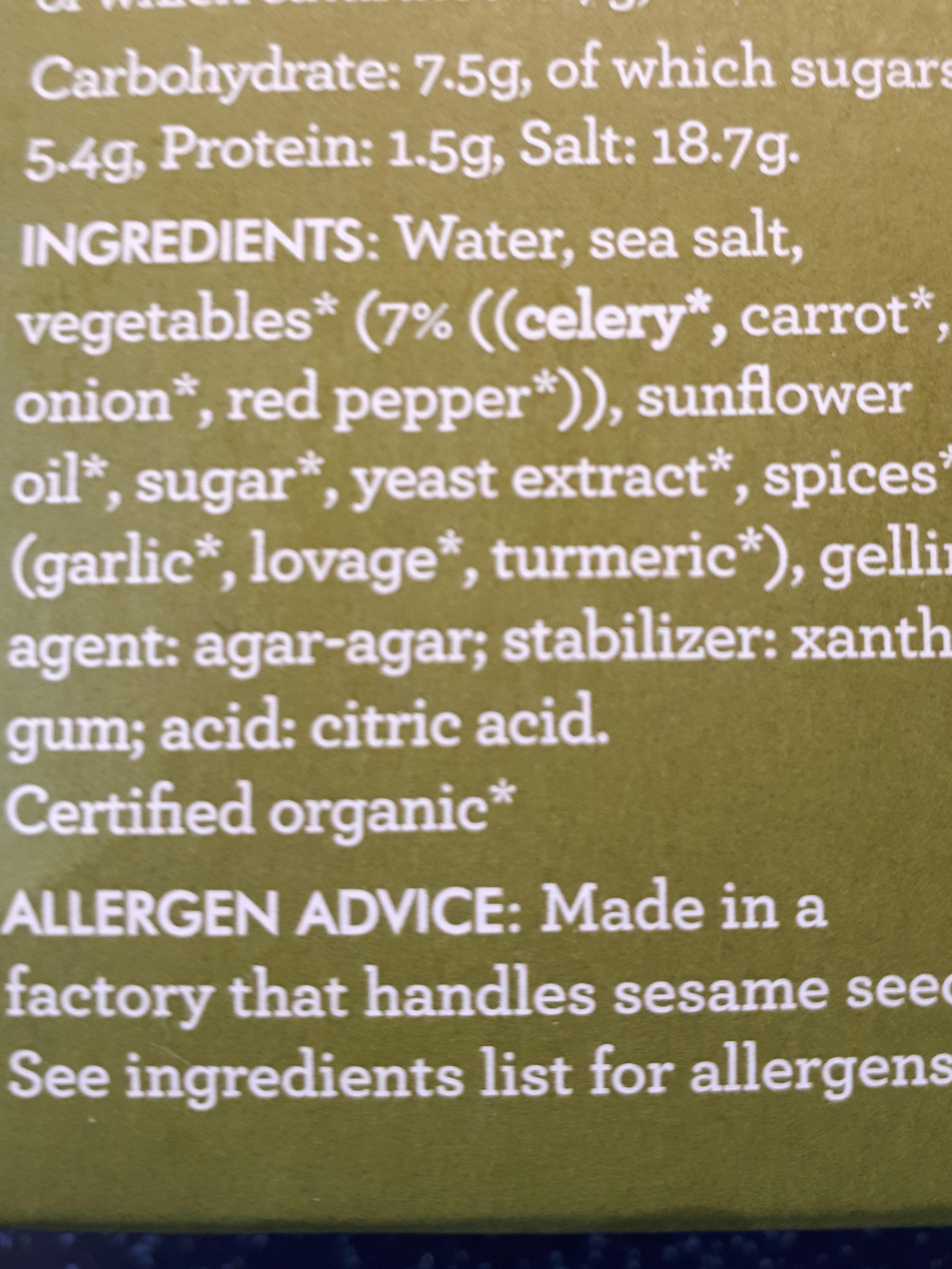 kallo organic vegetable stock pots - Ingredients - en