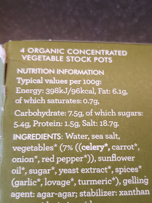 kallo organic vegetable stock pots - Nutrition facts