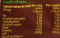 Cauldron Original Tofu - Nutrition facts