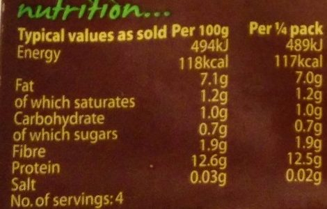 Cauldron Original Tofu - Nutrition facts - en