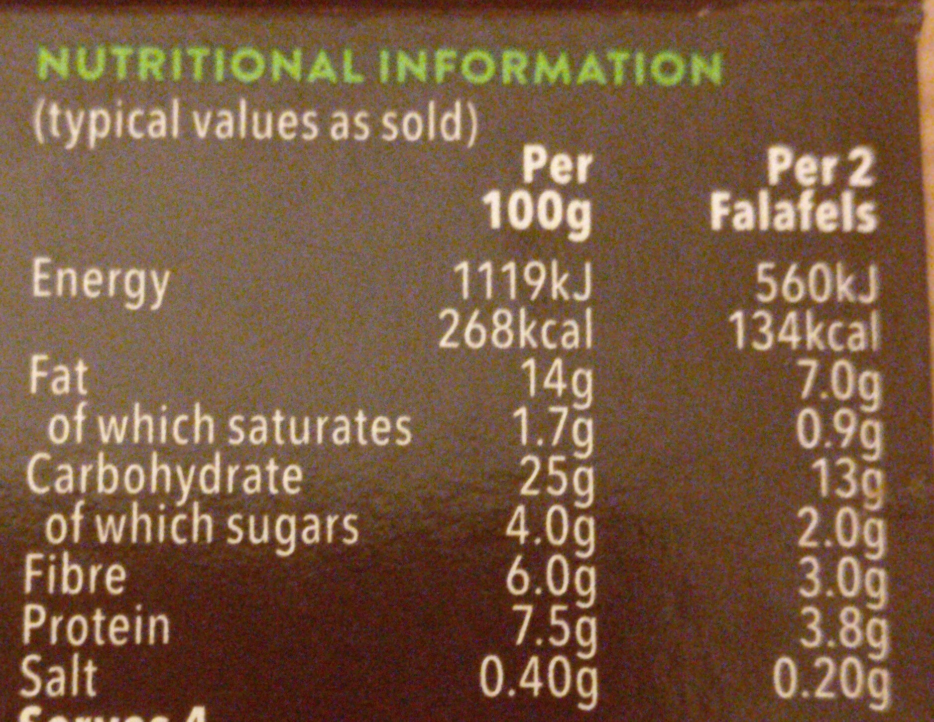 Cauldron Middle Eastern Falafels - Informations nutritionnelles - en