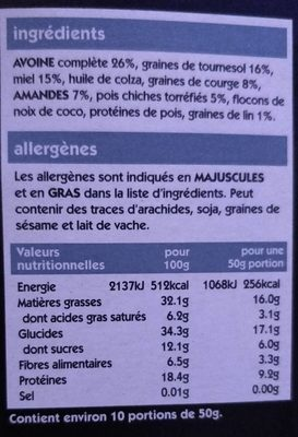 Super granola protein packed - Informations nutritionnelles - fr
