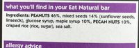 Eat Natural maple syrup, peacon and peanuts bar - Ingredients