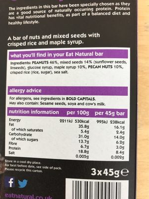 Eat Natural maple syrup, peacon and peanuts bar - Nutrition facts