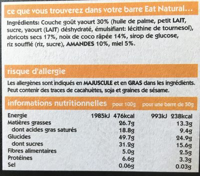 Barres enrobées aux fruits secs Amande & Abricot - Ingrediënten
