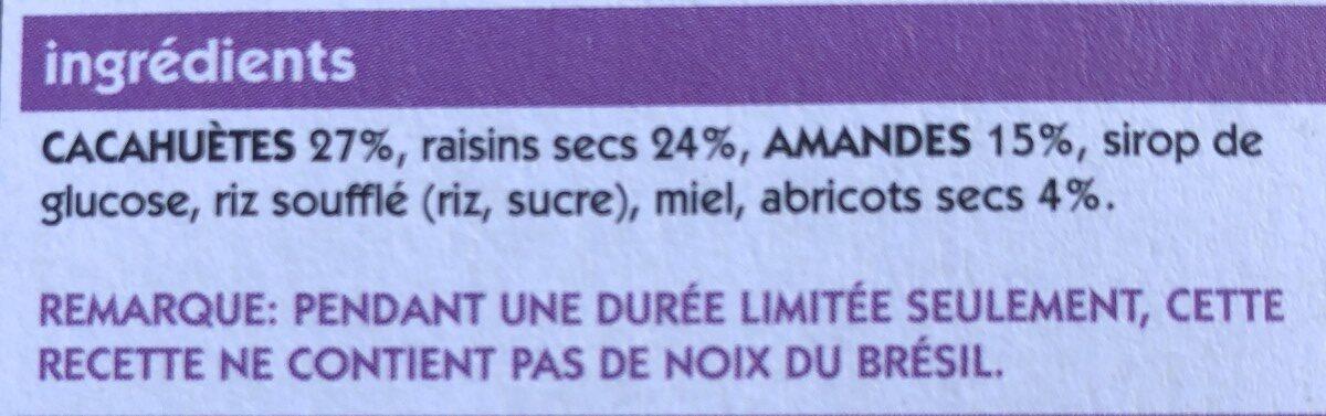 Barre aux fruits secs - Ingrediënten - fr