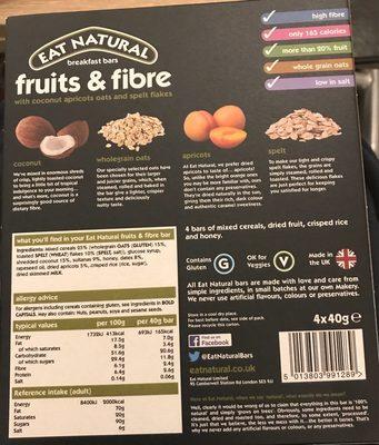 Barres de céréales aux fruits secs et à la noix de coco - Información nutricional