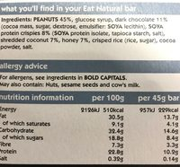 Crunchy nut bar protein packed - Nutrition facts