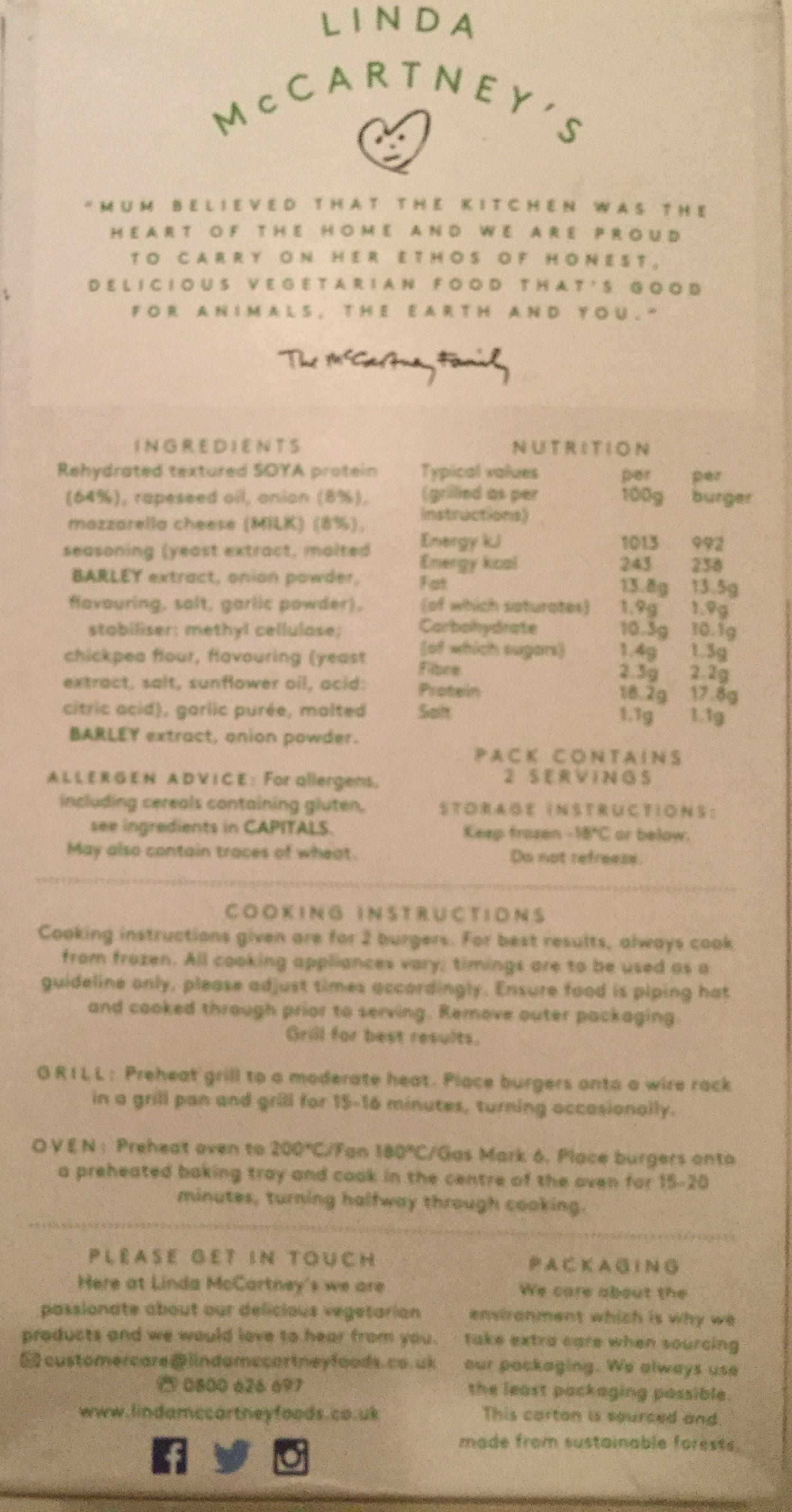 Linda Mccartney's 2 Vegetarian mozzarella 1/4 lb burgers - Ingredients - en