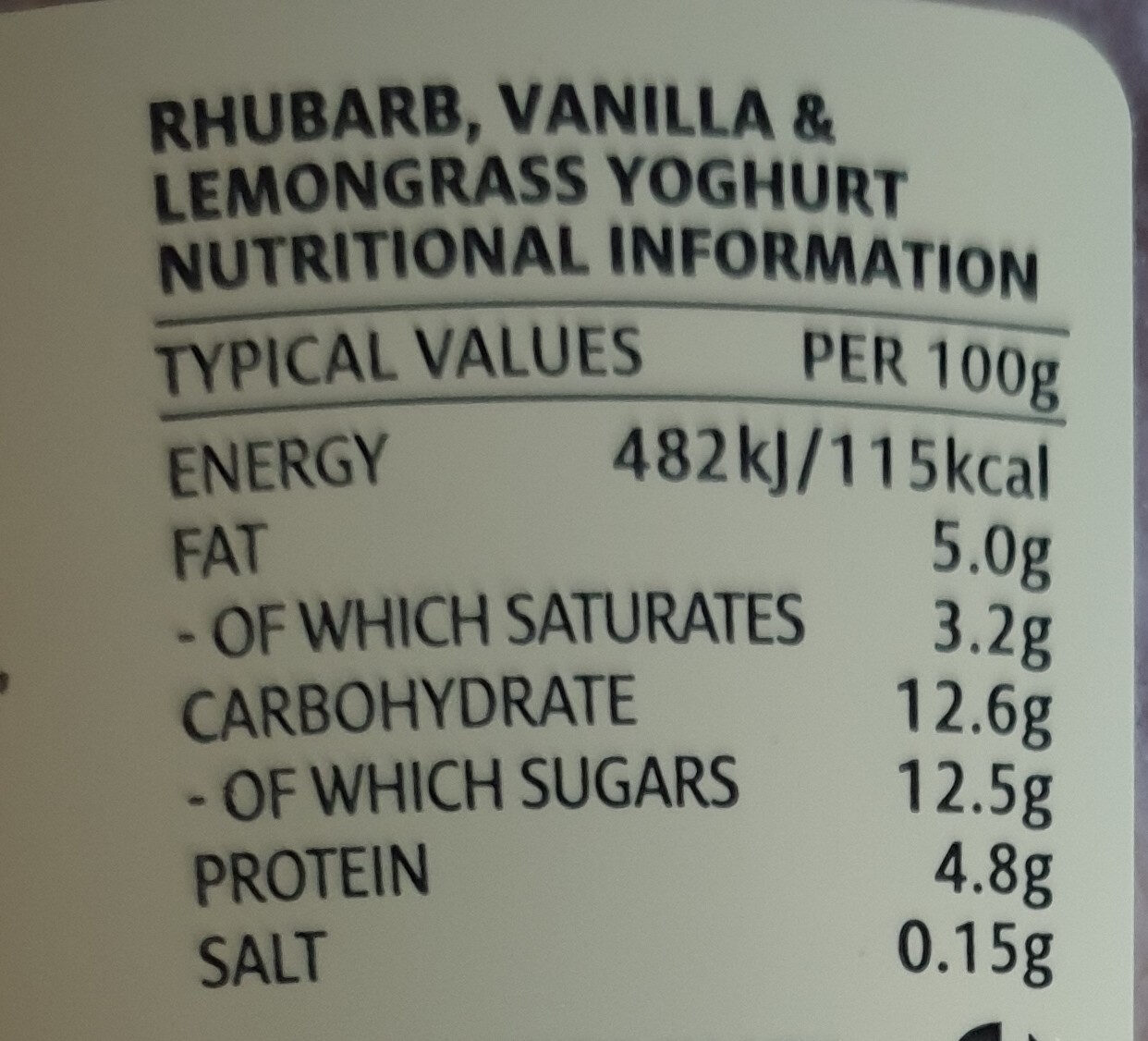 Yoghurt - Nutrition facts - en