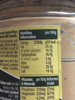 Smooth Cashew Butter - Nutrition facts
