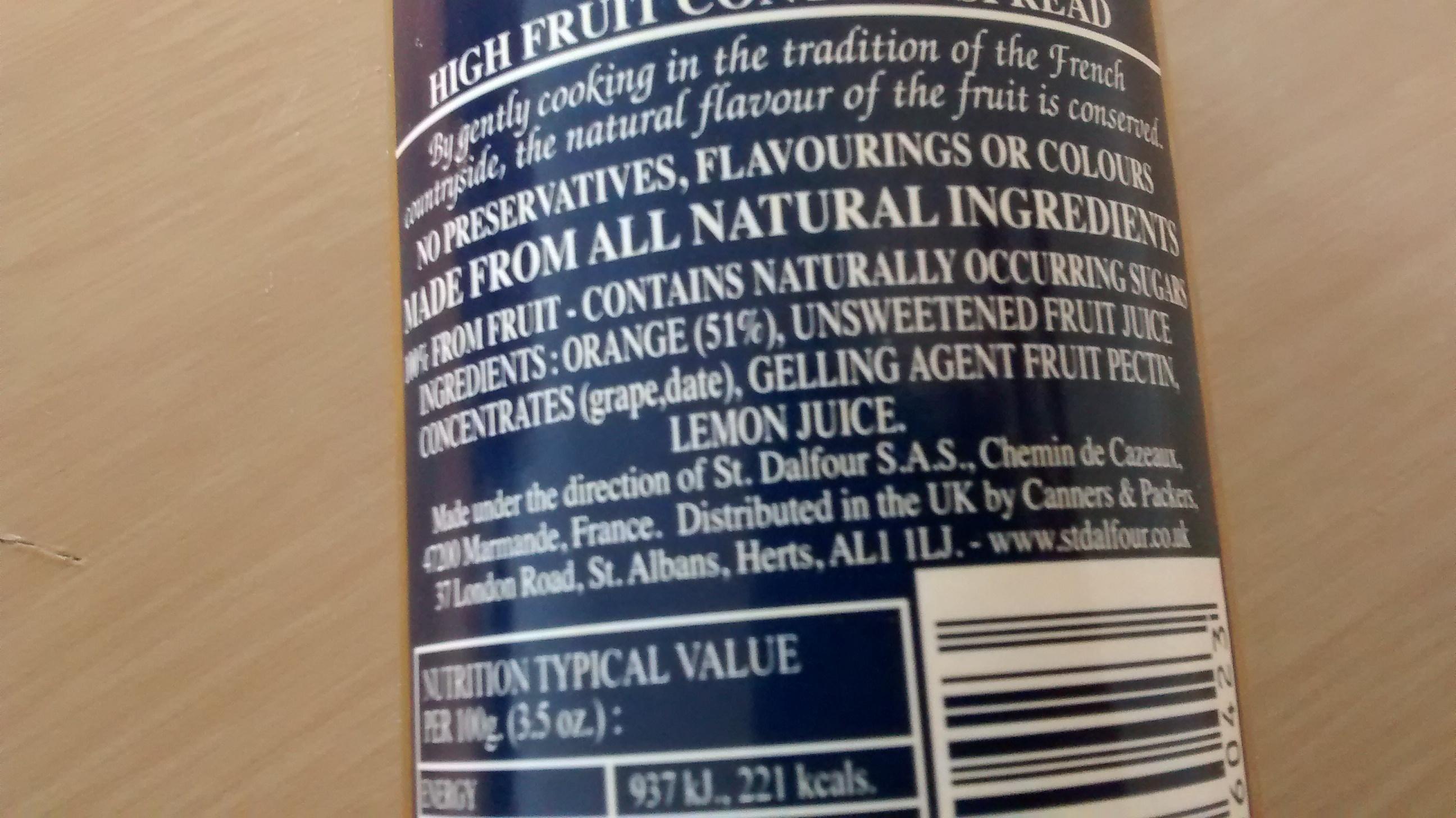 Thick Cut Orange Spread - Ingredients - en