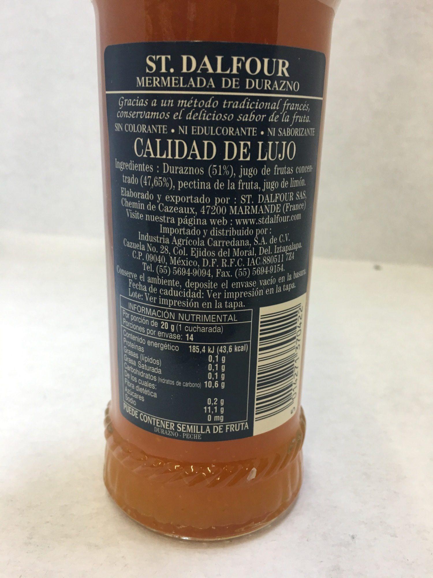 St. Dalfour Durazno - Ingredientes - es