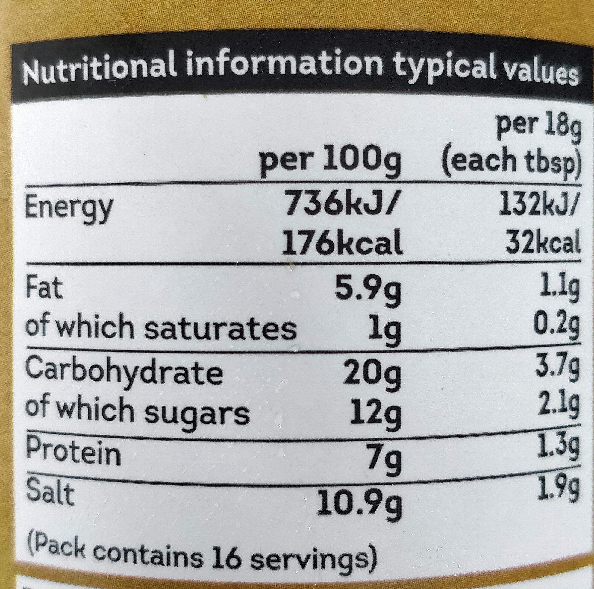 Unpasteurised Miso Paste - Informations nutritionnelles - en