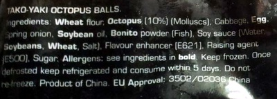 Tako Yaki Octopus balls - Ingredients - en