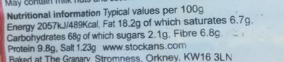 Orkney thick oatcakes - Nutrition facts
