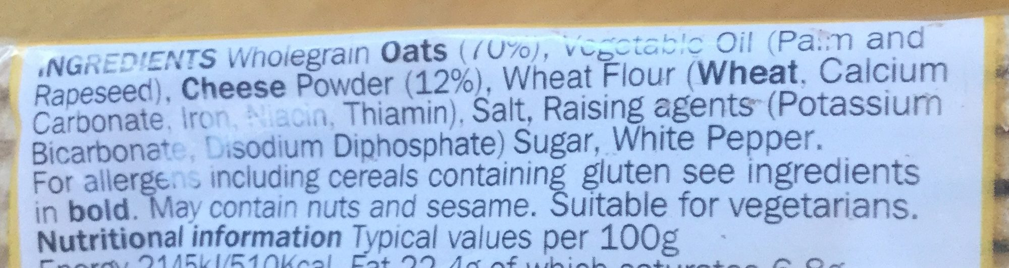 Orkney cheese Oatcakes - Ingredients - en