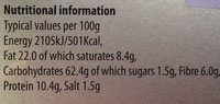 Orkney oatcakes - Nutrition facts