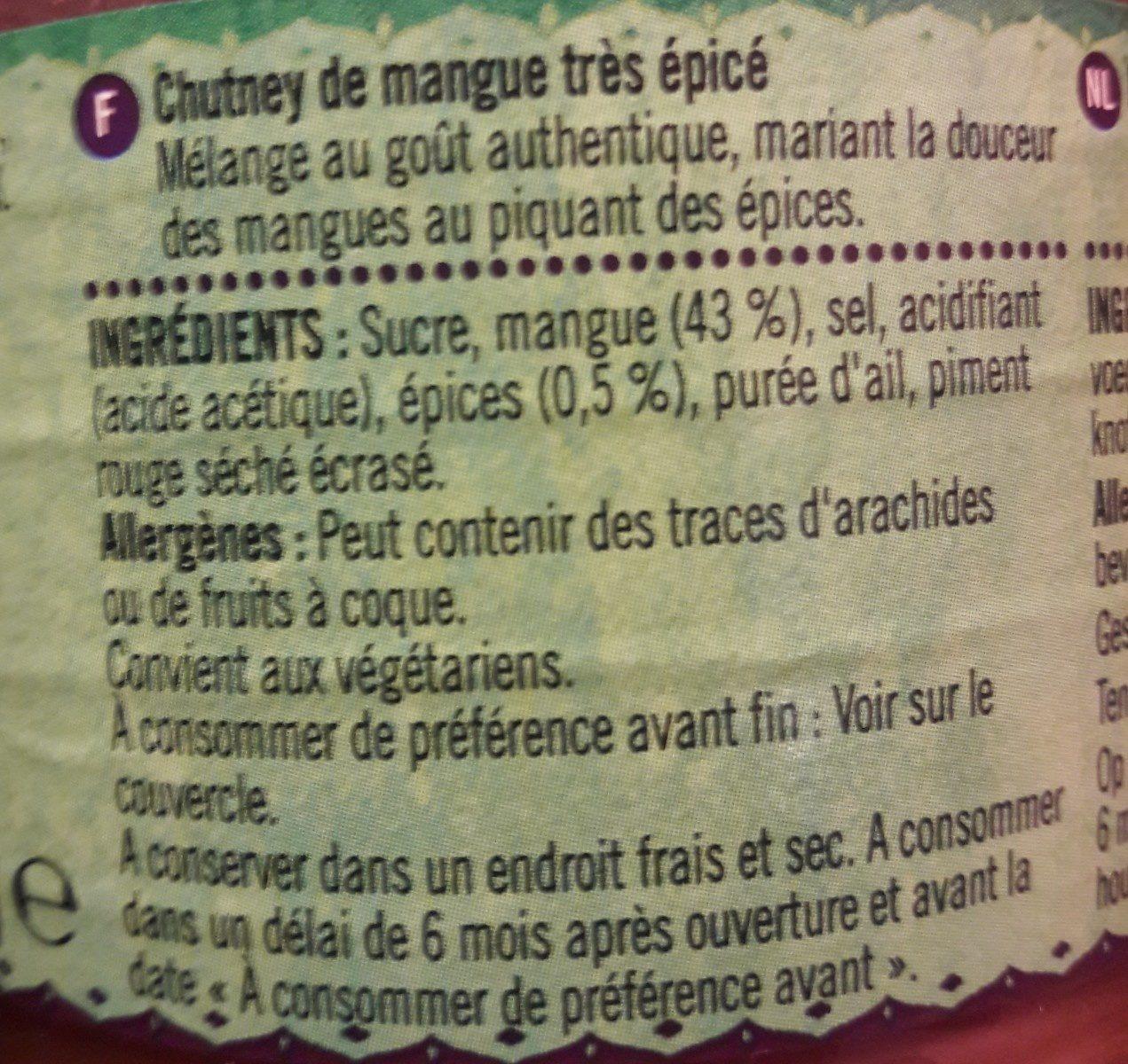 Chutney épicé à la mangue - Ingrediënten - fr