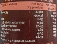 Organic Swiss Vegetable Vegan Bouillon Powder - Informations nutritionnelles - en