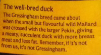 Gressingham Duck - Ingredients