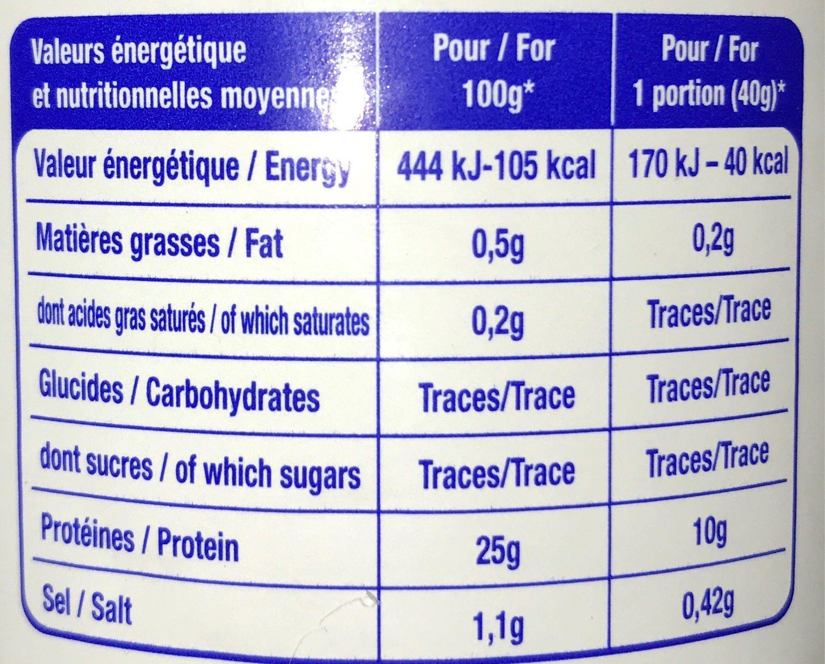 Morceaux de thon - Informations nutritionnelles - fr