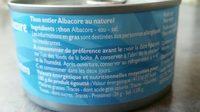 Thon Albacorr au naturel - Ingrédients - fr
