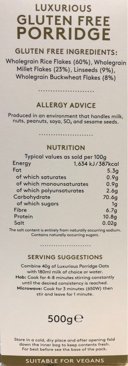 Luxurious gluten free porridge - Nutrition facts