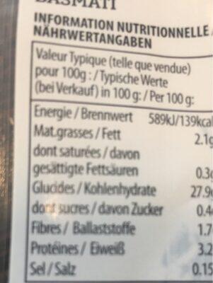 Riz basmati Veetee - Informations nutritionnelles